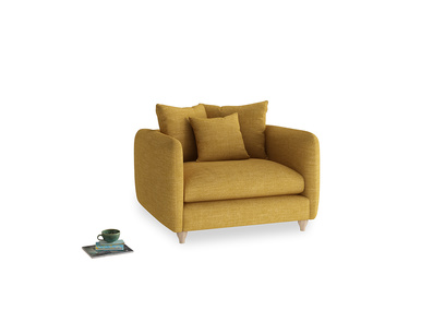 Podge Love Seat in Mellow Yellow Clever Laundered Linen