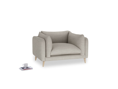Slow-Mo Love Seat in Grey Daybreak Clever Laundered Linen