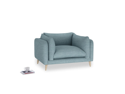 Slow-Mo Love Seat in Soft Blue Clever Laundered Linen