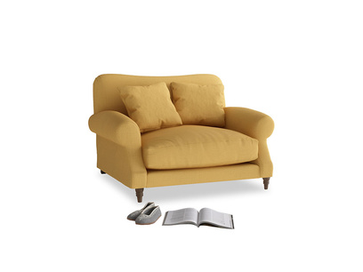 Crumpet Love seat in Dorset Yellow Clever Linen