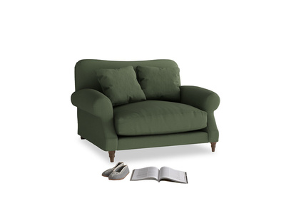 Crumpet Love seat in Forest Green Clever Linen