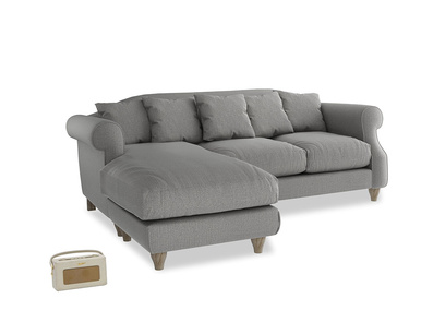 Large left hand Sloucher Chaise Sofa in Cloudburst Bamboo Softie