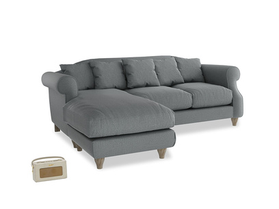 Large left hand Sloucher Chaise Sofa in Cornish Grey Bamboo Softie