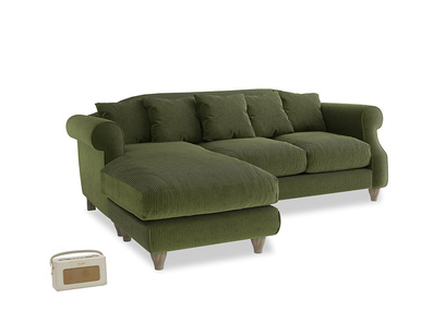 Large left hand Sloucher Chaise Sofa in Leafy Green Clever Cord