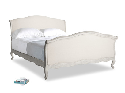 Kingsize Antoinette Bed in Scuffed Grey in Natural cotton linen mix