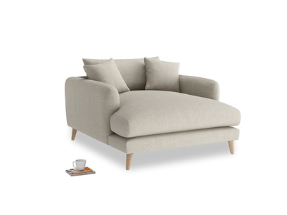 Squishmeister Love Seat Chaise in Thatch house fabric