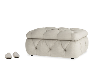 Stasher Storage Footstool in Thatch house fabric