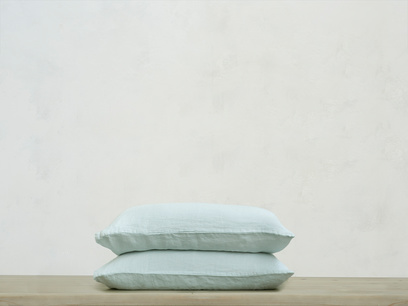 Single Lazy Linen pillowcase in Duck Egg