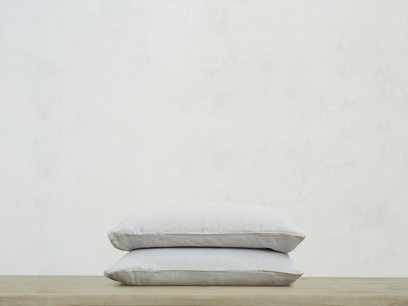 Single Lazy Linen pillowcases in Light Grey