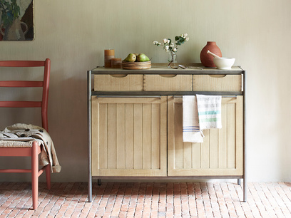 Servery wood and metal kitchen sideboard