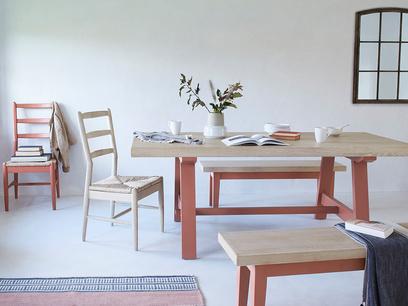 Trestle rust oak top dining table