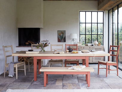 Pantry extendable kitchen table in rust
