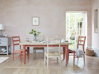 Scullery painted red solid oak dining table