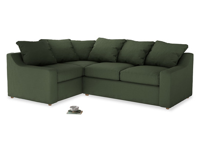 Large Left Hand Cloud Corner Sofa in Forest Green Clever Linen