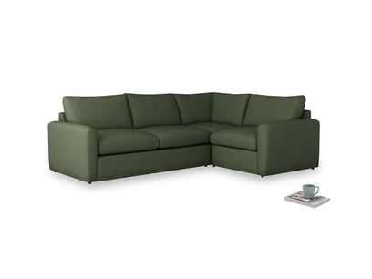 Large right hand Chatnap modular corner sofa bed in Forest Green Clever Linen with both arms