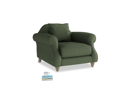 Sloucher Armchair in Forest Green Clever Linen