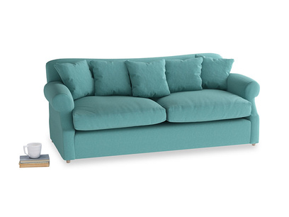 Large Crumpet Sofa Bed in Peacock brushed cotton