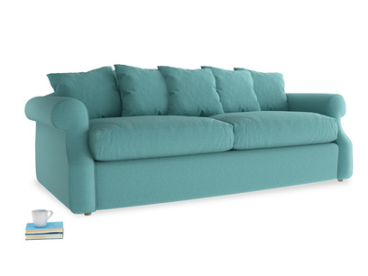 Large Sloucher Sofa Bed in Peacock brushed cotton
