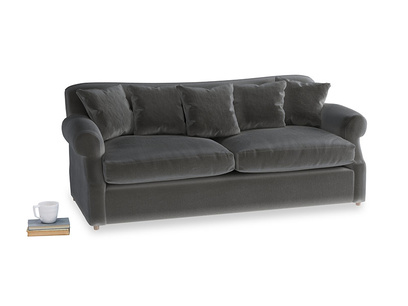 Large Crumpet Sofa Bed in Steel clever velvet