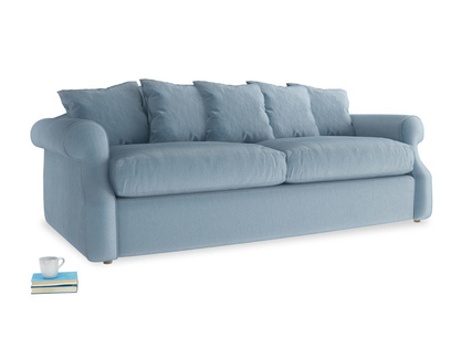 Large Sloucher Sofa Bed in Chalky blue vintage velvet
