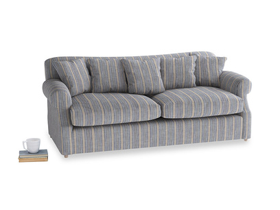 Large Crumpet Sofa Bed in Brittany Blue french stripe