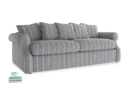 Large Sloucher Sofa Bed in Brittany Blue french stripe