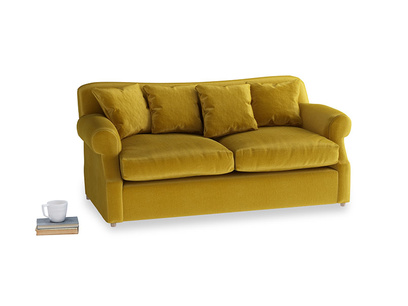 Medium Crumpet Sofa Bed in Burnt yellow vintage velvet