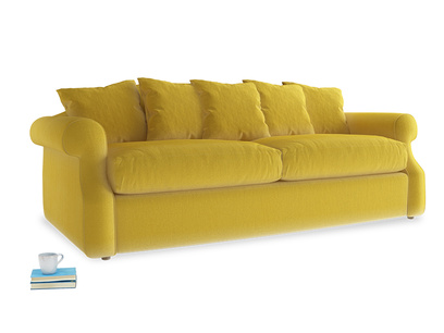 Large Sloucher Sofa Bed in Bumblebee clever velvet