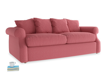 Medium Sloucher Sofa Bed in Raspberry brushed cotton