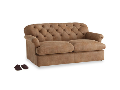 Medium Truffle Sofa Bed in Walnut beaten leather