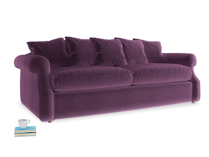 Large Sloucher Sofa Bed in Grape clever velvet