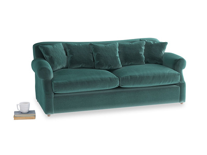 Large Crumpet Sofa Bed in Real Teal clever velvet