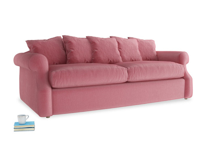 Large Sloucher Sofa Bed in Blushed pink vintage velvet