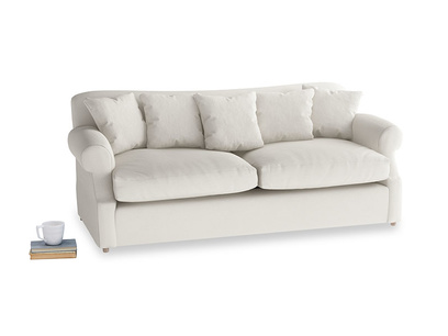 Large Crumpet Sofa Bed in Oyster white clever linen