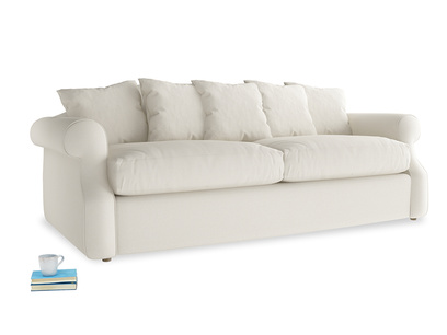 Large Sloucher Sofa Bed in Chalky White Clever Softie