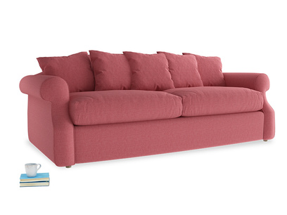 Large Sloucher Sofa Bed in Raspberry brushed cotton