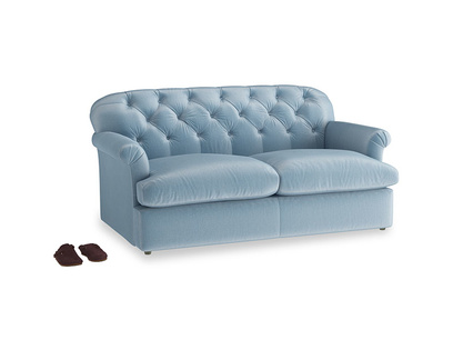 Medium Truffle Sofa Bed in Chalky blue vintage velvet