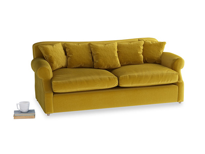 Large Crumpet Sofa Bed in Burnt yellow vintage velvet