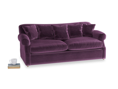 Large Crumpet Sofa Bed in Grape clever velvet