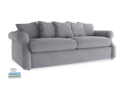 Large Sloucher Sofa Bed in Dove grey wool