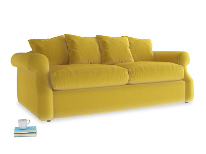 Medium Sloucher Sofa Bed in Bumblebee clever velvet