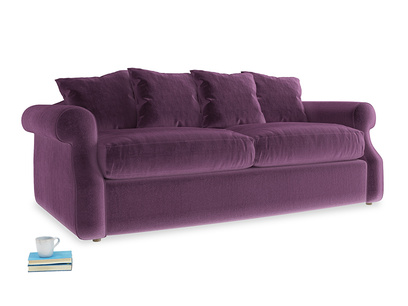 Medium Sloucher Sofa Bed in Grape clever velvet