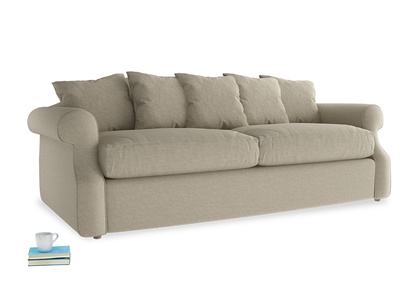 Large Sloucher Sofa Bed in Jute vintage linen