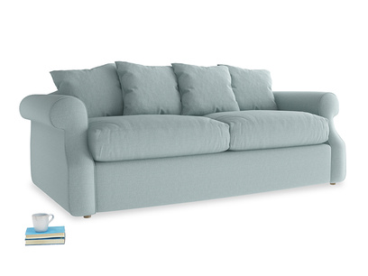 Medium Sloucher Sofa Bed in Smoke blue brushed cotton