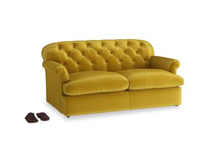 Medium Truffle Sofa Bed in Burnt yellow vintage velvet