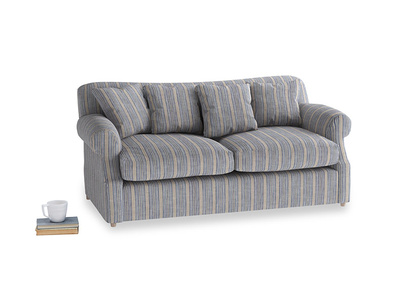 Medium Crumpet Sofa Bed in Brittany Blue french stripe