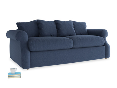 Medium Sloucher Sofa Bed in Navy blue brushed cotton