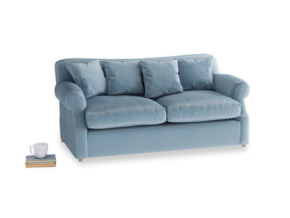 Medium Crumpet Sofa Bed in Chalky blue vintage velvet
