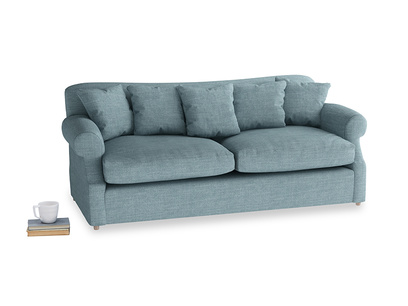 Large Crumpet Sofa Bed in Soft Blue Laundered Linen