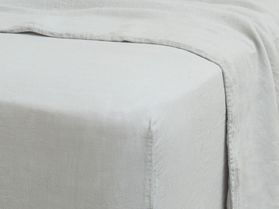 Superking Lazy Linen fitted sheets in Light Grey